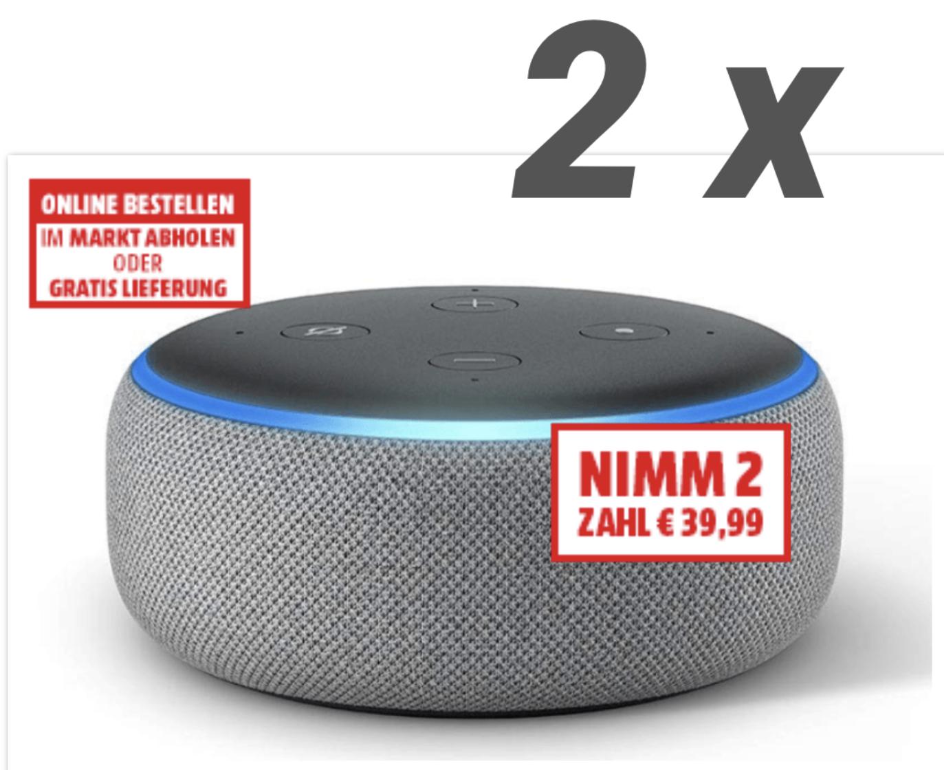 Grenzgänger AT: 2 x  AMAZON Echo Dot für 39,98€ oder 6 Stück für 104,94€ (17,49€ Stück) - (Versand nach D für 9,50€ möglich)
