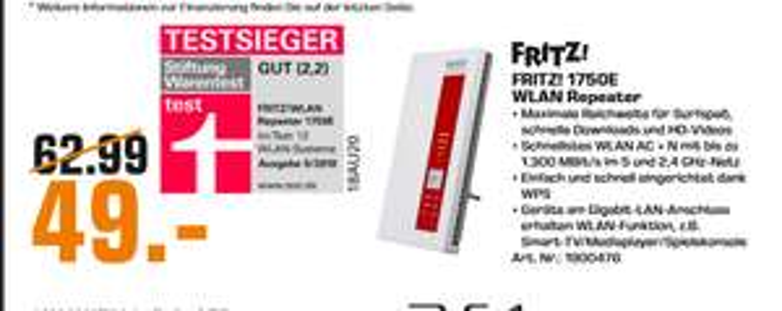[Lokal: Saturn Kassel & Baunatal] AVM FRITZ!WLAN Repeater 1750E  | Sonos Beam =329€ | JBL Bar 5.1 =499€ | Garmin Vivosmart 4 =59€ | u.a.