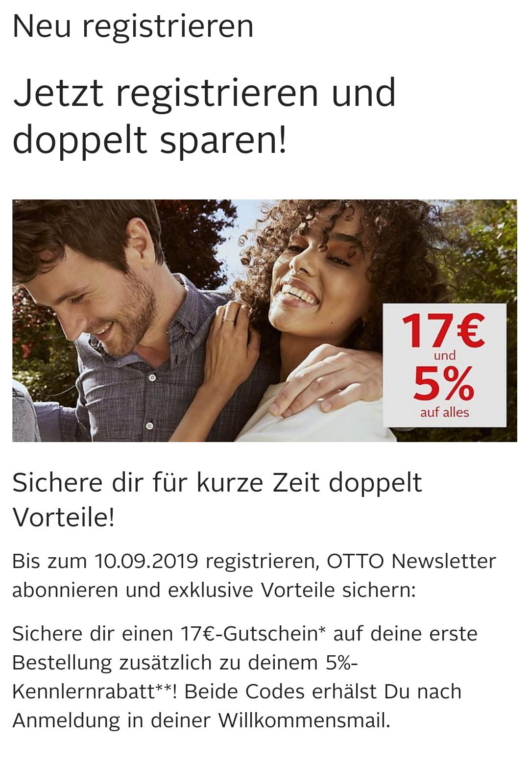 17€ und 5% bei Otto.de   Neukunden