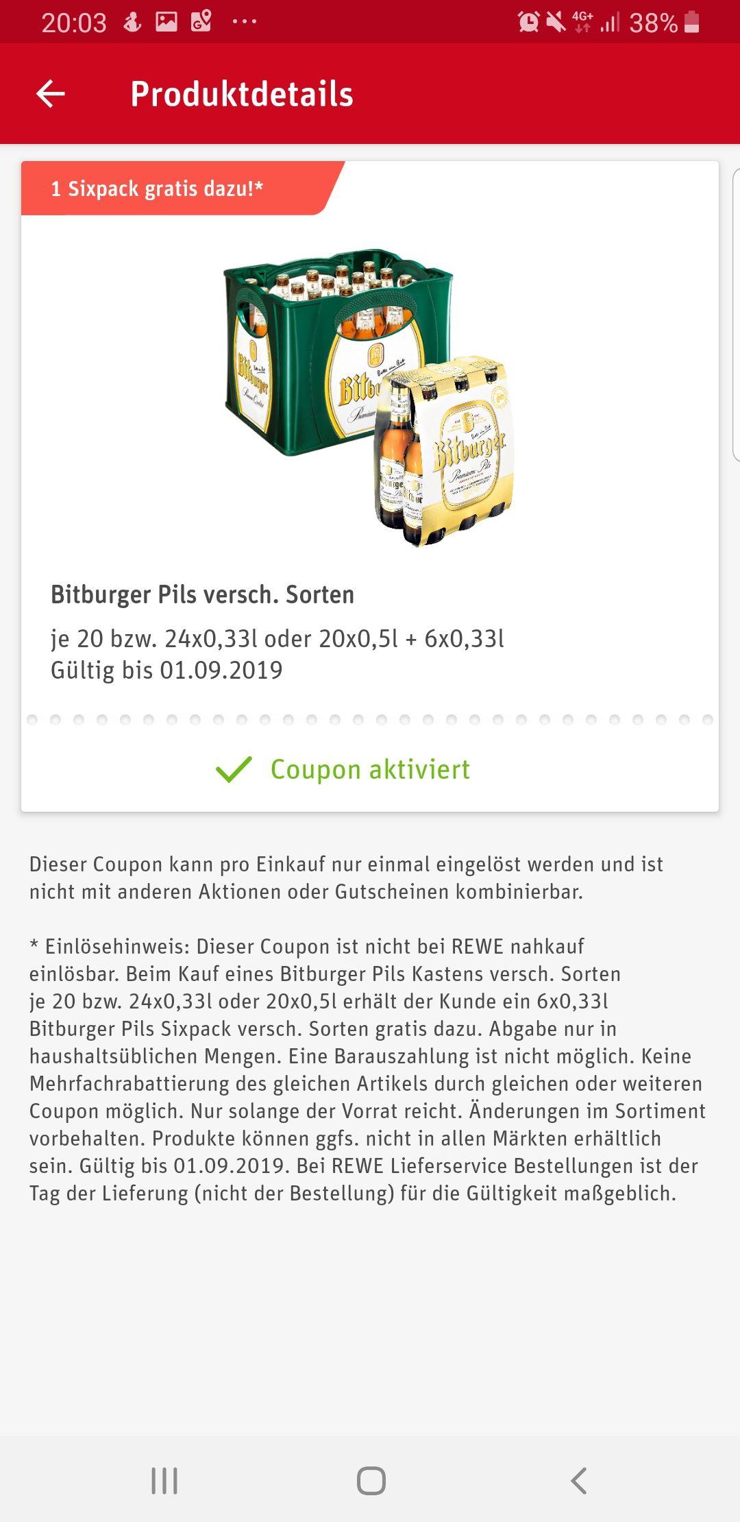Rewe - 26x0,33L Bitburger für eff. 4,99€ - Payback Couponfehler?