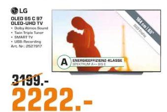 [Regional Saturn Herford/Bad Oeynhausen] LG OLED65C97LA OLED TV (Flat, 65 Zoll/164 cm, UHD 4K, SMART TV, webOS 4.5 (AI ThinQ)) für 2222,-€