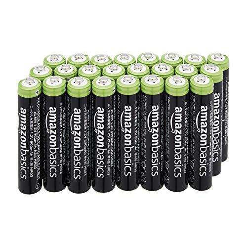 AmazonBasics – AAA-Batterien (24er-Pack), 800 mAh, wiederaufladbar (NiMH Akkus)