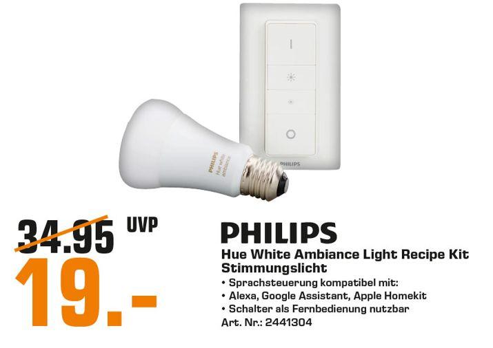 [Regional Saturn Hamburg-Alle Märkte/Norderstedt] Philips Hue White Ambiance Light Recipe Kit, E27 LED-Lampe inkl. Dimmschalter für 19€