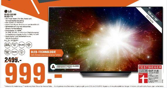 [Regional Saturn Duisburg] LG OLED55B8LLA OLED-Fernseher (139 cm/55 Zoll, 4K Ultra HD, Smart-TV), schwarz für 999,-€