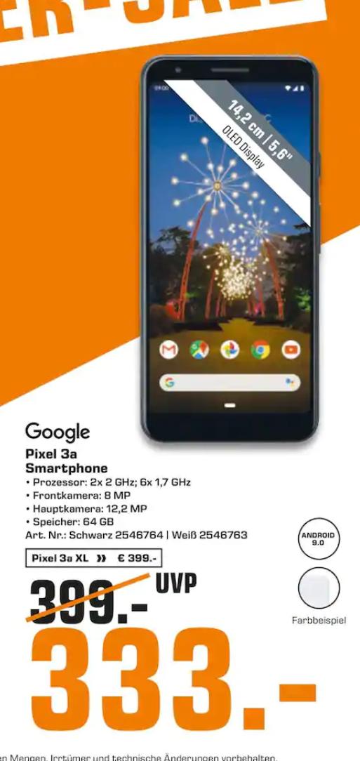 [Hamburg-Saturn] Google Pixel 3a für 333€ oder Pixel 3a XL für 399€