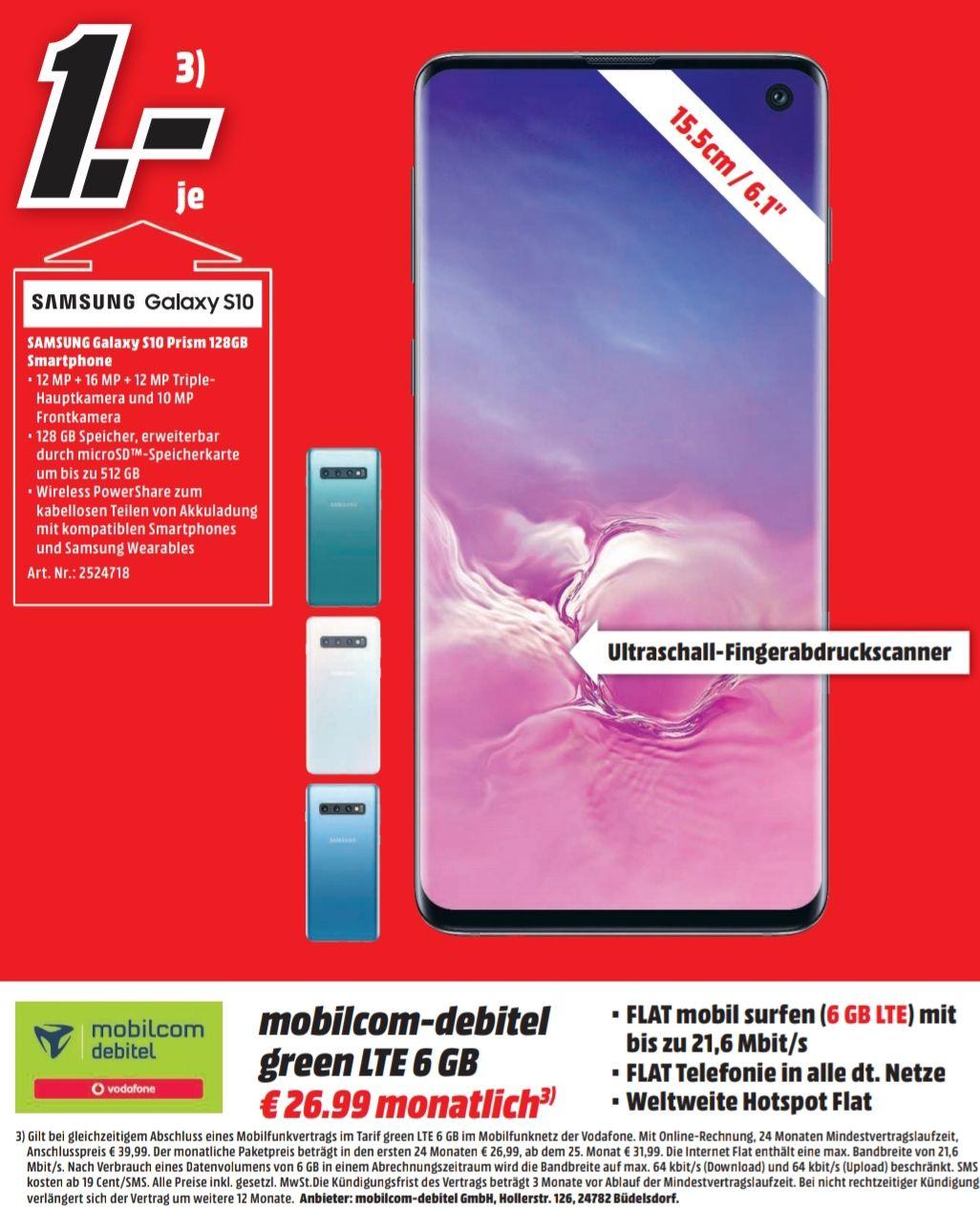 [Regional Media Markt Rendsburg] Samsung Galaxy S10 im Debitel Vodafone (6GB LTE/Allnet) für 26,99€ mtl. und 1€ einmalig