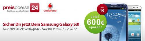Samsung Galaxy S3 mit Vodafone Flat (SMS, Internet, Vodafone-Netz + 1 Fremdnetz) für eff. 22,50/Monat