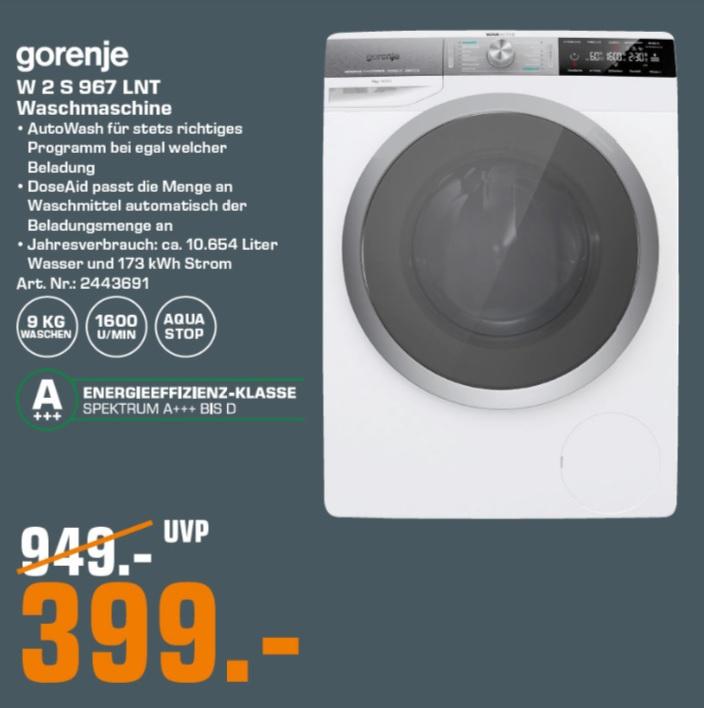 [Saturn Hamburg] Waschmaschine Gorenje W2S967LNT (A+++, 1600 U/min, 9kg, AquaStop)