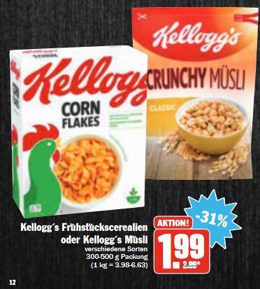 [ HIT BUNDESWEIT ] Kelloggs Cornflakes - Zwei Packungen für 1,98€ (Angebot + Couponplatz.de Coupon)