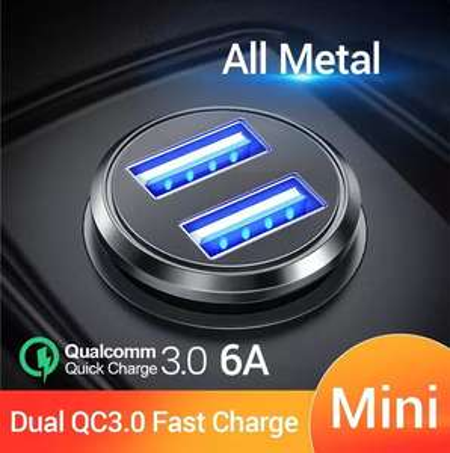FIVI Auto Ladegerät Dual QC 3,0 USB schnelle Ladung Alle Metall Für Samsung S8 S9 S10 Xiaomi Huawei Mini Mobile telefon 36W 6A Adapter