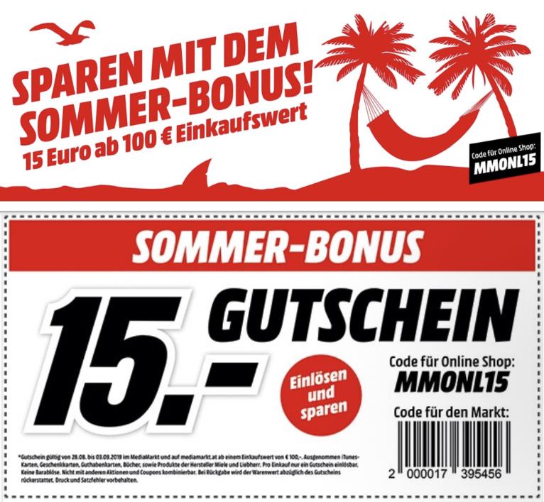 15€ Rabatt ab 100€ bei MediaMarkt Österreich - im Markt und online