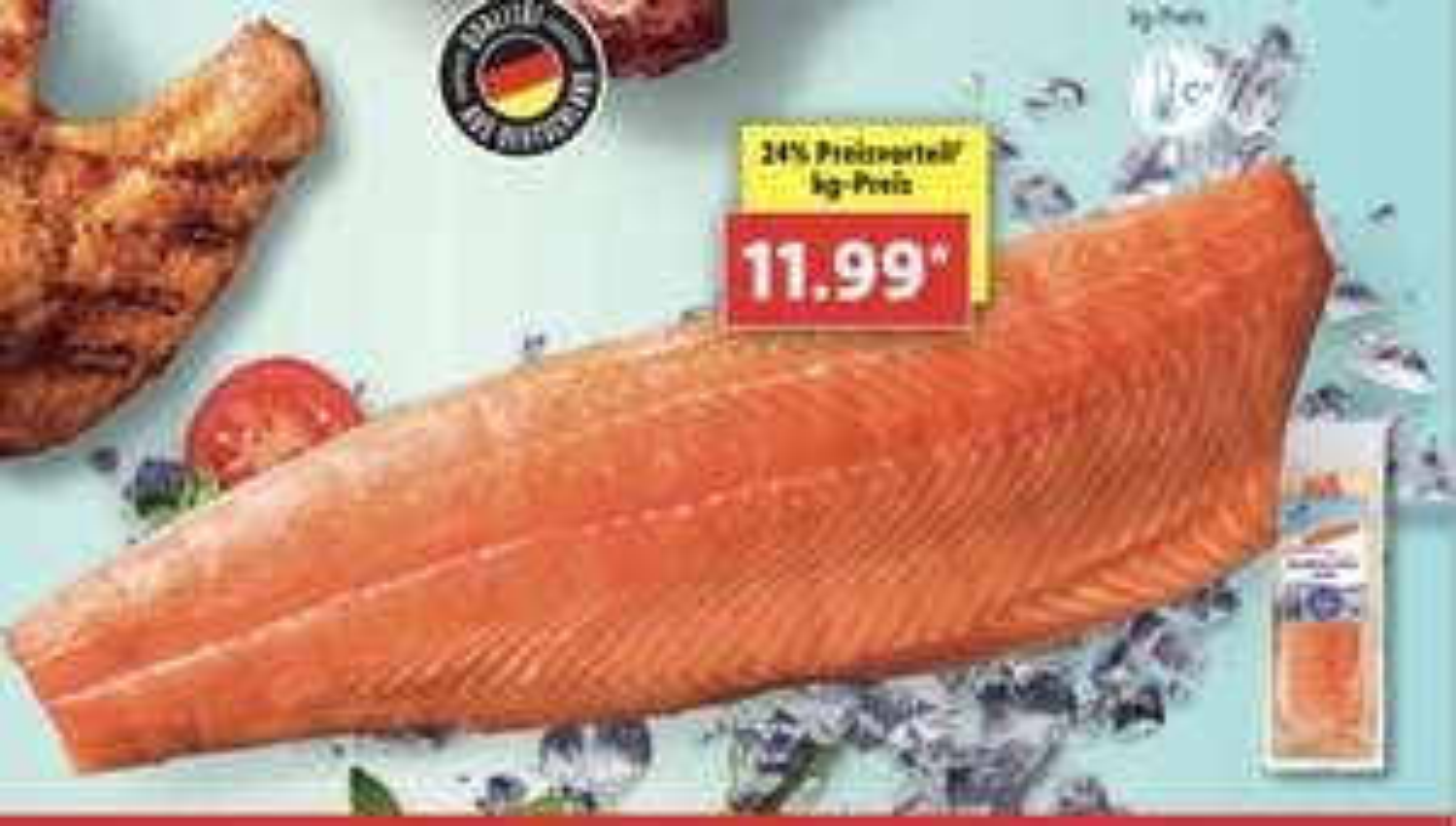Norwegisches Lachsfilet Preis je kg nur 11,99€ - Packung ca. 1000g. Stücke [Lidl]