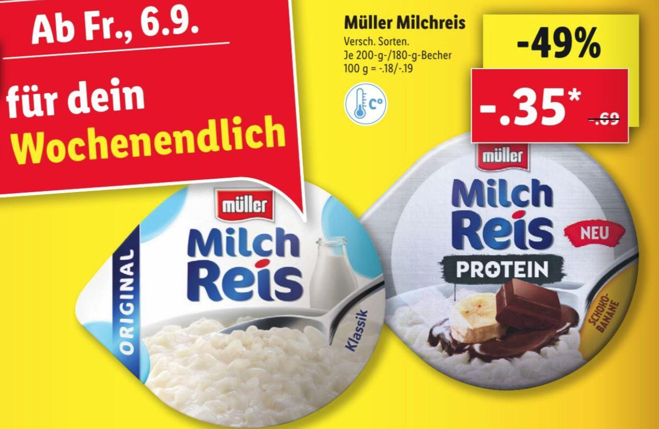 Müller Milchreis versch. Sorten auch Protein für je 0,35€ [Lidl ab 06.09.]