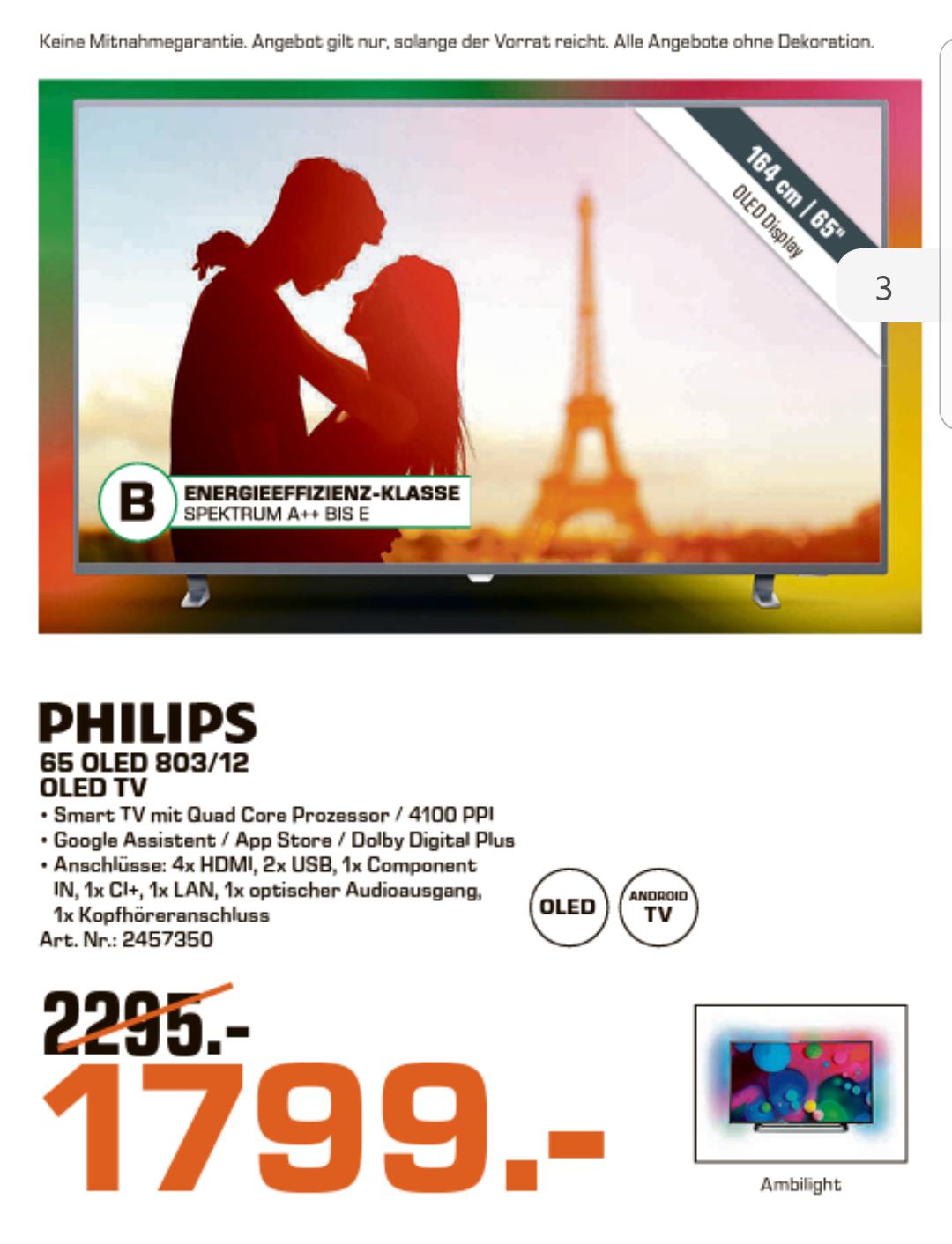 Philips 65 OLED 803 Bestpreis Saturn oberhausen [Regional]