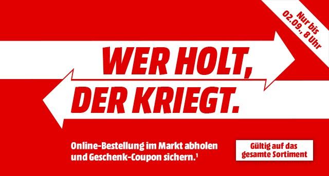 Media Markt: Abholung statt Versand und 5€,10€ oder 20€ Coupon gratis bekommen (ab 50€/100€/200€)