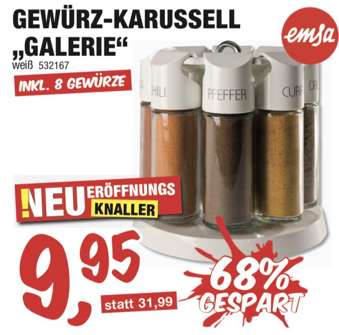 Emsa Gewürzkarussell Galerie 8tlg für 9,95€ oder Kehrganitur für 0,45€  [Sconto Münster Lokal]