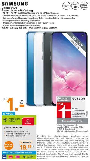 [Regional Saturn Hürth und Kerpen] Samsung Galaxy S10e im Debitel Vodafone (6GB LTE/Allnet) für 19,99€ mtl. und 1€ einmalig