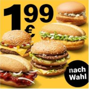 McDonalds für je 1,99€: Royal Käse, McChicken, Big Mac, McRib oder Filet-O-Fish