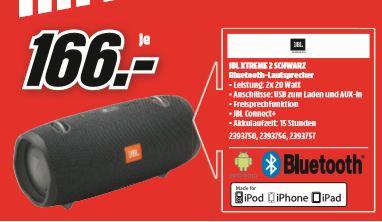 [Regional Mediamarkt Wolfsburg -Nur am 01.09] JBL Xtreme 2 Bluetooth Lautsprecher  in schwarz,blau oder grün für je 166,-€