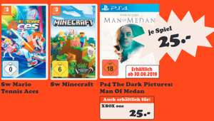[Lokal: Media Markt Lingen Meppen Nordhorn] Mario Tennis: Aces  & The Dark Pictures Man of Medan (PS4/XBO) für je 25€   Astral Chain für 45€