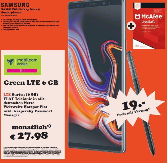 [Regional Media Markt Lüneburg] Samsung Galaxy Note 9 im Debitel Telekom (6GB LTE/Allnet) für 27,98€ mtl. und 19€ einmalig