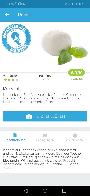 Mozzarella 30 Cent billiger durch Marktguru (Cash back)