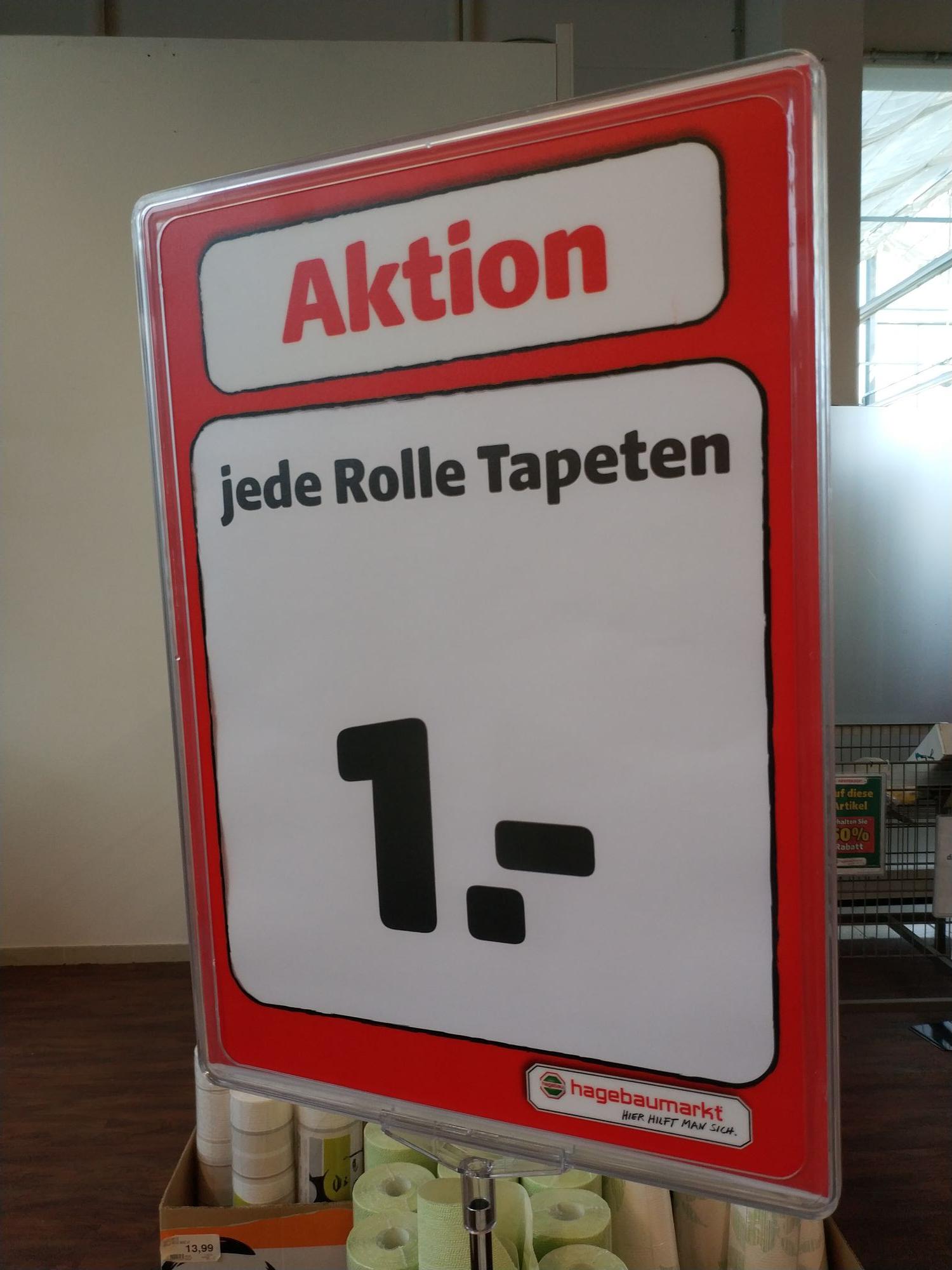 (Lokal) Jede Tapeten Rolle für 1€ - Großer Abverkauf Restposten im Hagebau Scharbeutz