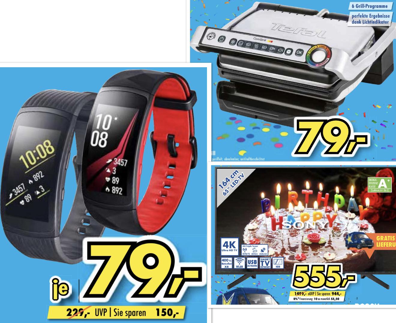 Lokal Euronics Brumberg: Samsung Gear Fit 2 Pro für 79€ / Tefal Optigrill GC702D für 79€ / Sony KD-65XF7096 164cm 4K UHD TV für 555€ usw.