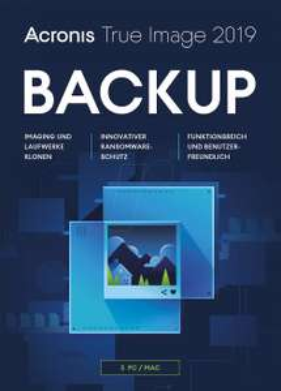 Acronis True Image 2019 Backup Programm (3 Geräte (PC / Mac), Box Version)