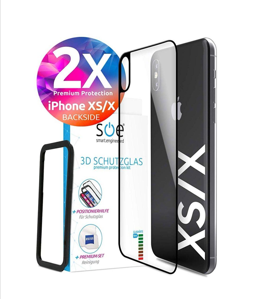 [2 Stück] 3D 9H Panzerglas Rückseite in schwarz kompatibel mit iPhone X und iPhone XS