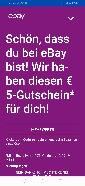 [Ebay] 5€ Rabatt mit 75€ MBW auf alles