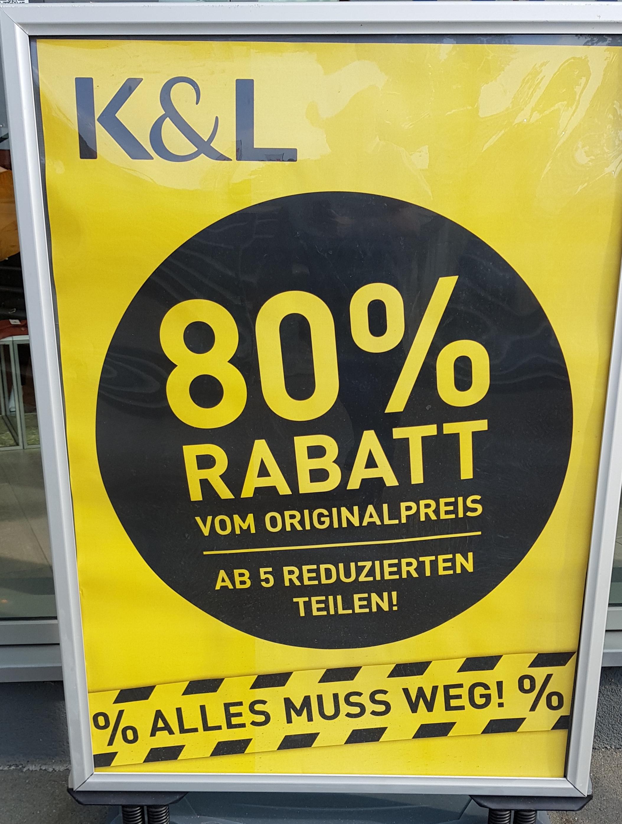 [offline] K&L 80% Rabatt auf den UVP beim Kauf 5 reduzierten Teilen