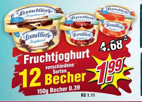 [Regional WIGLO Wunderland ab 02.09] 12 x Becher Landliebe-Fruchjoguhrt für schlappe 1,99€