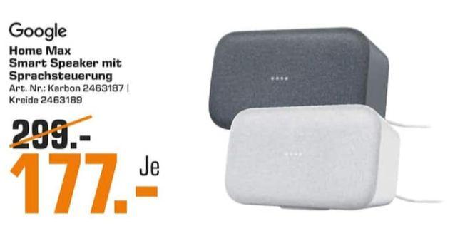 [Regional Saturn Bielefeld] Google Home Max Sprachgesteuerter Lautsprecher in 2 Farben für je 177,-€