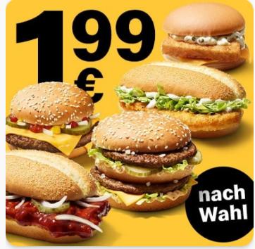 McDonalds Burger mit 4x extra Chicken/Beef oder beliebigen anderen Extras für 1,99 €