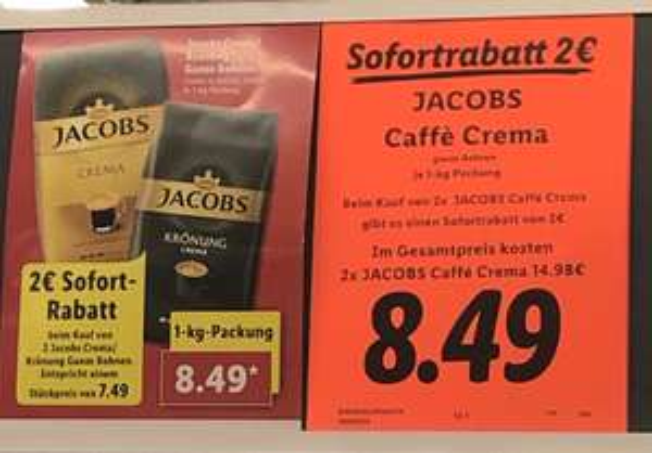 ( Lokal Lidl München ) Jacobs Caffe Crema 1Kg 8,49€ ( 7,49€ bei Abnahme 2  )