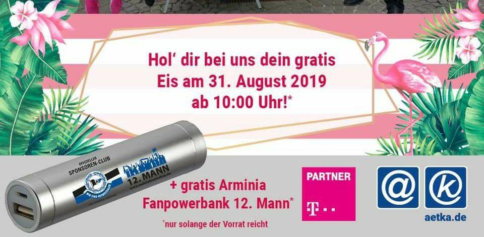 [Lokal Bielefeld] [Nur am 31.08] gratis Eis+Arminia Powerbank