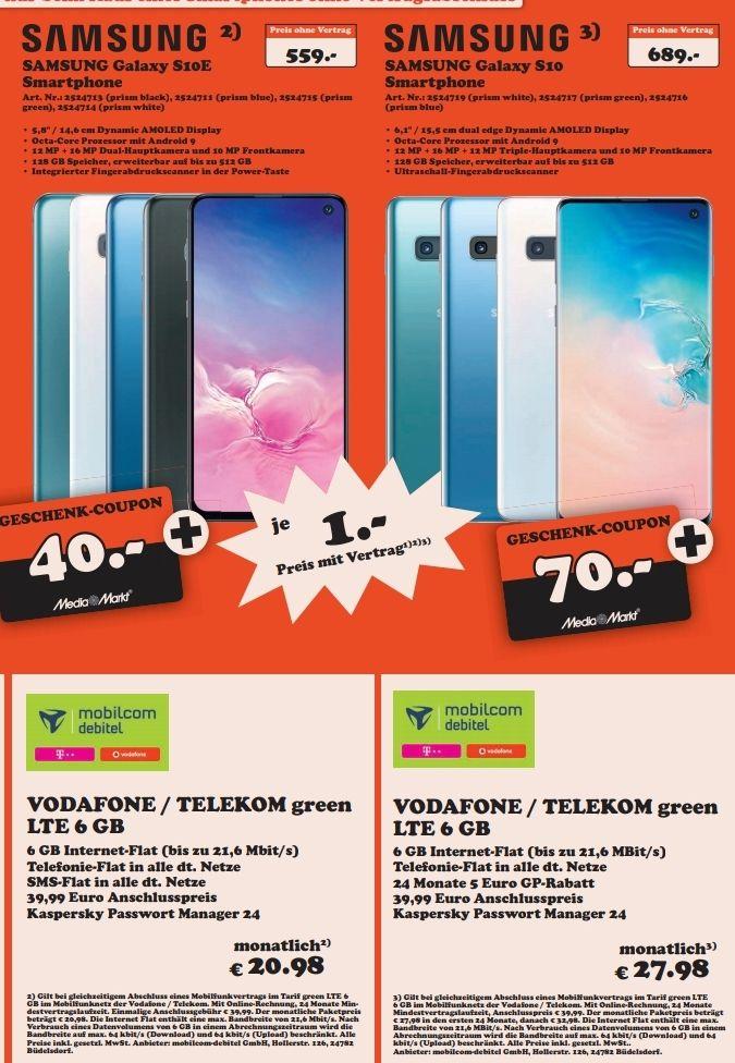 [Regional Itzehoe] Samsung Galaxy S10e im Debitel Telekom (6GB LTE, Allnet) 20,98€ mtl. | S10 27,98€ mtl.