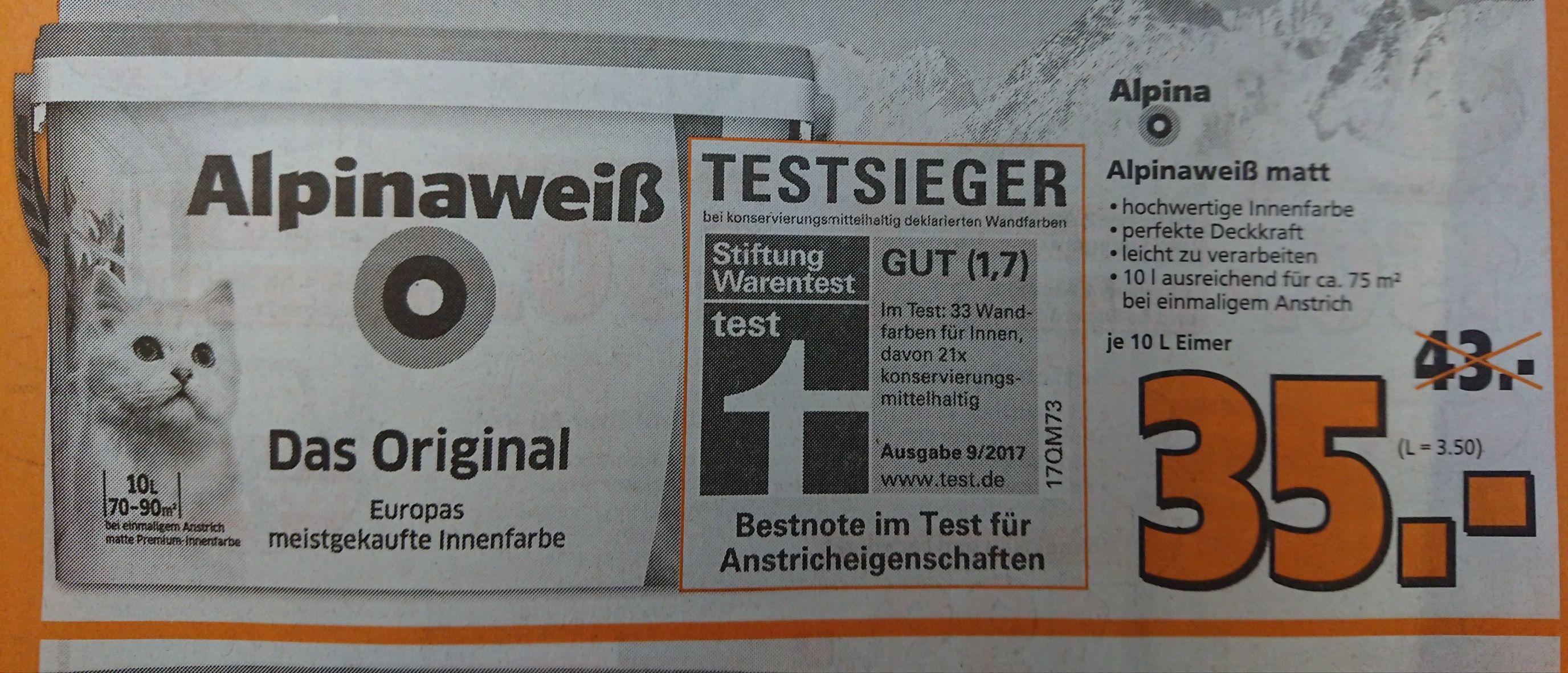 Lokal Lahnstein [Globus Baumarkt] Alpina Innennweiß10l mit Katze zu 35€ | ohne Katze 17€.