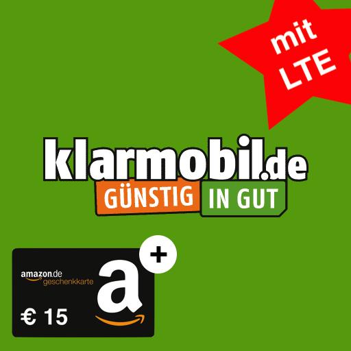Klarmobil Smartphone Flat (500 MB LTE) mit 100 Freiminuten für mtl. 2,99€ + 15€ Amazon Gutschein [Telekom-Netz]