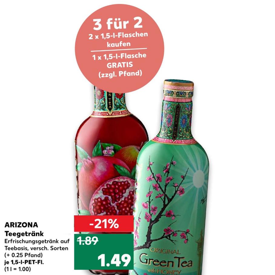 3x Arizona Eistee 1,5l in versch. Sorten für 2,98€ [Kaufland]