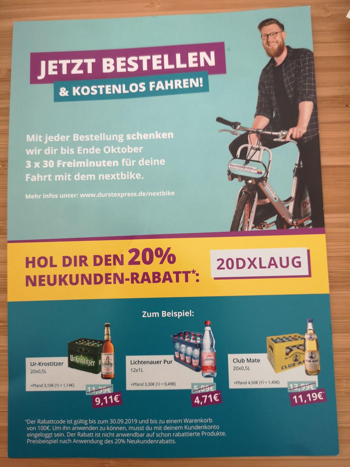 20% Rabatt für Neukunden bei Durstexpress Leipzig [Lokal]