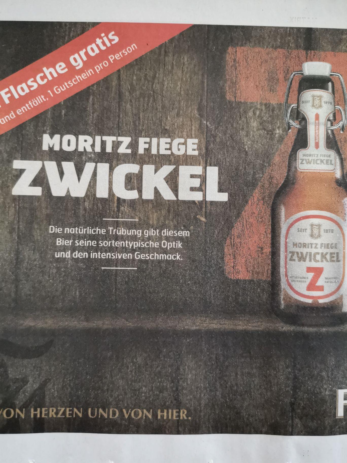[Bochum] 1 Flasche Moritz Fiege Zwickel gratis, Pfand entfällt.