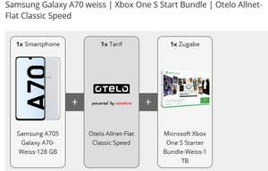 Samsung Galaxy A70 weiss | Xbox One S Start Bundle | Otelo Allnet-Flat Classic Speed
