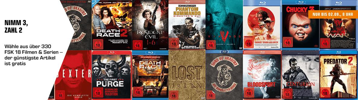 3 für 2 Aktion mit FSK18 Filme und Serien (Blu-ray & DVD) bis 02.09.19 (Saturn)