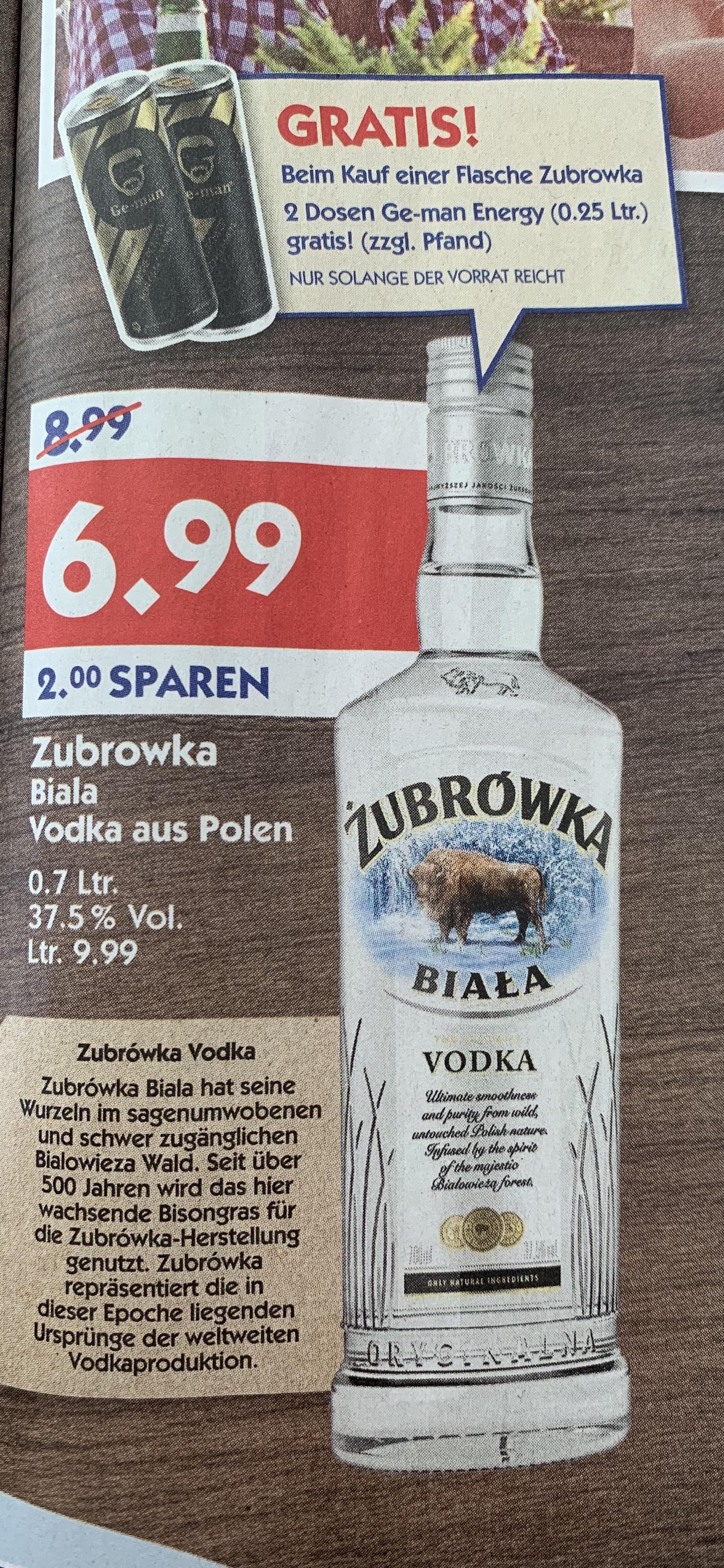 [Hol' Ab] Zubrowka Biala  Vodka 0.7 Liter Flasche für 6.99 ab Montag 02.09.19