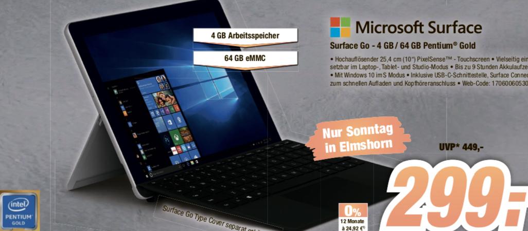 [Lokal: Expert Bening Elmshorn - nur am 01.09. von 12-17 Uhr] Microsoft Surface Go (64GB / 4GB RAM / Intel Pentium Gold 4415Y)