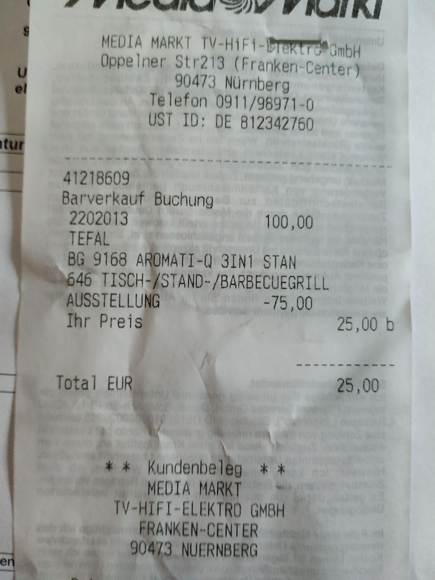 (Mediamarkt Nürnberg LW) -50% auf alle Grills inkl. bereits reduzierte Grills
