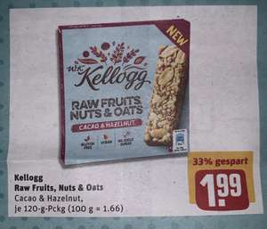 [REWE Center / REWE Markt Lokal] W.K. Kellogg Raw Fruit, Nuts & Oats Riegel (effektiv nur 0,99€ mit 1€ Cashback bei COUPIES)