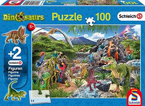 [Amazon Plusprodukt] günstiges Schleich-Dino-Puzzle (mit 2 zusätzlichen Figuren) für Kinder ab 5 Jahre (100 Teile)